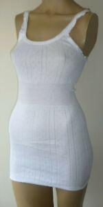 Damart White Long Cotton Thermal Vest Size 20/22 Built Up Shoulder Lace Triim