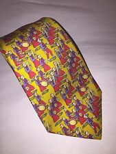 pre-owned MINT authentic CHANEL men's CRAVOTTE necktie GOLD SILK w/RED BLUE