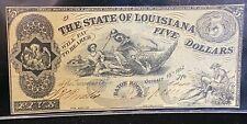 October 10 1862 State Of Louisiana $5 Civil War Ear Bank Note - Baton Rouge