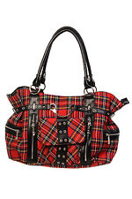 Classic Red Tartan Handcuff Chain Eyelets Handbag Shoulder Bag Gothic Punk Emo