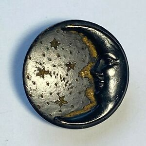 Vintage painted metal man in the moon button