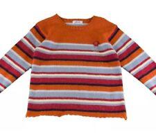 JACADI Designer Girls Sweater Sz 12 Kids NEW Wool Orange Blue Black Striped Warm
