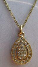 pendentif chaîne forme poire cristaux diamant bijou vintage couleur or *1728