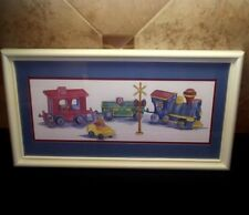 Vintage Train Picture Railroad Crossing Framed Ava Freeman Homco Teddy Bears Art
