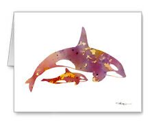 Orca And Baby Note Cards With Envelopes