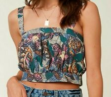 O'Neill SASIA MULTI Womens Adjustable Strap Tube Crop Top Small Multi NEW