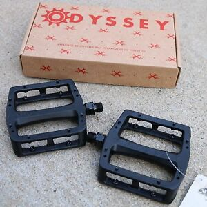 """ODYSSEY BMX BIKE GRANDSTAND DUGAN ALLOY 9/16"""" BICYCLE BLACK PEDALS PRIMO CULT"""