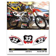 2009-2012 HONDA CRF 450 Dirt Bike Graphics Motocross Custom Number Plates GEICO