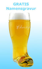 Bierstiefel mit  GRATIS Gravur Namensgravur  graviertes Glas Geschenk für Männer