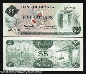 GUYANA 5 DOLLARS P22 1989 x 100 Pcs Lot BUNDLE KAIETEUR FALL SUGAR CANE UNC NOTE
