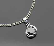SILVER SP CUBIC ZIRCONIA CLASSIC BLACK PENDANT NECKLACE STAINLESS STEEL CHAIN