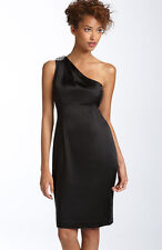 NWT CALVIN KLEIN Black One Shoulder Satin Cocktail Dress - Size US 4 (AU 8)