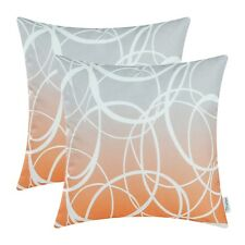 Pack of 2 Orange Throw Pillows Covers Cases Gradient Ombre Circles Decor 45x45cm