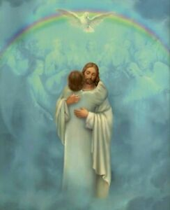 """JESUS embraces man in heaven - Welcome Home   8"""" x 10"""" ready to be framed print"""