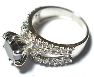 Partner Lover Gift Black Diamond White Gold Finish 1.85 Ct 925 Silver AAA Ring.