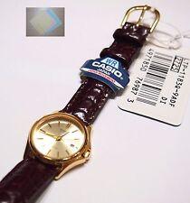 Casio Women's Brown Leather Band LTP-1183Q-9 Gold Watch 100% Original + Gift New