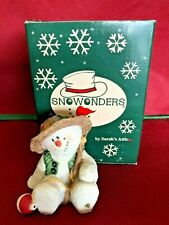 "Sarah's Attic Snowonder ""August"" Fisherman Snowman Figurine Mint In Box Rare"