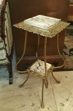 AnTIQue Victorian Plant Fern Stand Brass Marble *Very Nice*