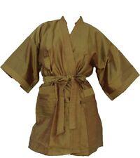 Kimono Bademantel Morgenmantel gold F1 S/M Bathrobe mit Gürtel und Taschen