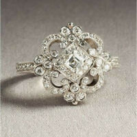 ANTIQUE VINTAGE ART DECO WEDDING DIAMOND ENGAGEMENT RING 14K SOLID WHITE GOLD