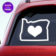Oregon state vinyl decal with solid large heart in the middle of the sticker