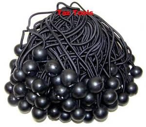"100pcs 6"" Black Ball Bungee Bungie Cord Heavy Duty Canopy Tarp Tie Downs Straps"