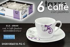 SET 6 TAZZINE CAFFE' CON PIATTINO QUADRATO DECORATE ELE-450105