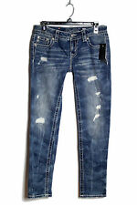 NWT MISS ME Vintage Blue Destroyed Low-Rise Skinny Jeans Pants Size 28