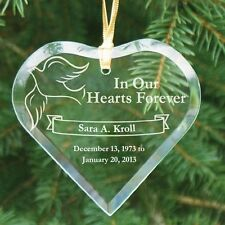 Personalized Memorial Christmas Ornament Engraved Heart Glass Memorial Ornament