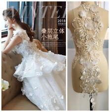 3D Flower Embroidery Lace Bridal  Applique Long Tulle DIY Wedding Dress 87*33 cm