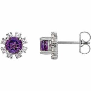 Amethyst & .08 CTW Diamond Earrings In Platinum