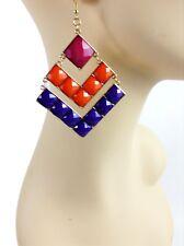 "Earrings, Pink, Orange, Purple 3"" Large Bright Multi Color Diamond Shaped"