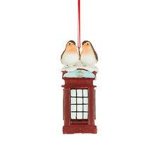 Robins on Telephone Box Christmas Decoration 10cm