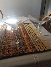 Set of 2 Libbeyware Bravura Curved Stem Martini Glasses Vintage