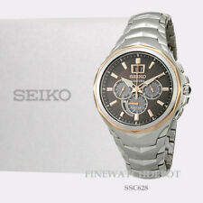 Authentic Seiko Men's Coutura Solar Chronograph Stainless Steel Watch SSC628
