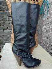 Vtg 90s Pedder Red Genuine Leather Black Long Turn Back Platform Boots UK 6 39