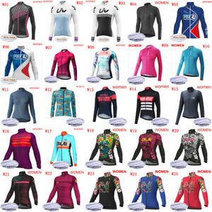 Women Team Cycling Fleece Jersey Winter Ladies Long Sleeve Thermal Biking Jersey
