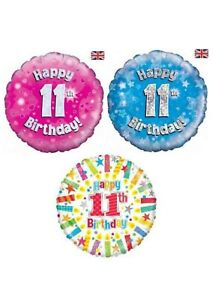 Happy 11th Birthday & Anniversary Helium Balloons Party Ware Decoration Age 11