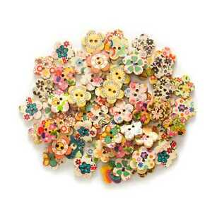 50pcs Flower Mixed 2 Hole Wood buttons for Sewing Scrapbook Clothing Gift 15mm