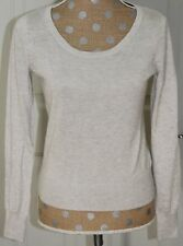 H&M Gray Silver Scoop Neck Pullover Sweater Top Long Sleeve Angora Blend SMALL