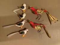 Flocked Red White Foiled Glittered Bird Christmas Ornaments lot of 6 Vintage