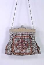 Antique Art Deco Bead-Lite Flapper Whiting & Davis Enamel Mesh Purse Bag 1920s