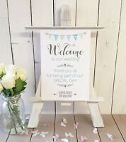 Personalised Welcome to our wedding sign thank-you for sharing our day BLUE A4