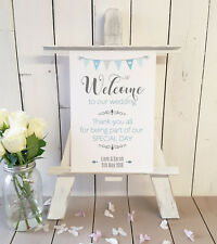 Personalised Welcome to our wedding sign thank-you for sharing our day BLUE