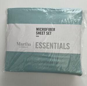 Martha Stewart Essentials Soft Feel Solid Microfiber Mist Green Twin Sheet Set