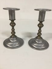 vintage Oneida Pewter and Brass Candle Holder Candlestick 6""