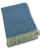 Manta de Lana Acoplamiento Colcha Cubierta Sofa 100% Azul/Crema 140x200cm
