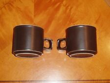VINTAGE DOVERSTONE HEATHER CUPS x 2 + SAUCERS x 6 - BROWN & CREAM - c1970