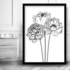 PEONIES Sketch Art Print Minimalist Wall Art Floral Picture Artwork Scandinavian