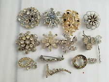 LOT OF 14 VINTAGE BROOCHES PINS MIXED JEWELRY RHINESTONES FAUX PEARLS